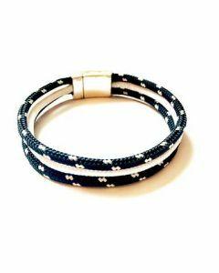 Bracelet sport 3 cordes avec aimant argent