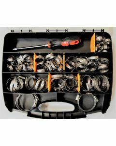 Coffret de colliers de serrage L9 inox A2 (106 pièces) + 1 tournevis